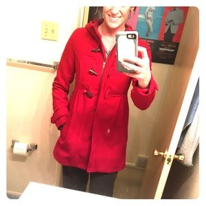 H&M red pea coat with toggle buttons